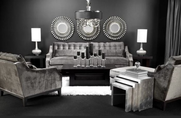 black living room feature