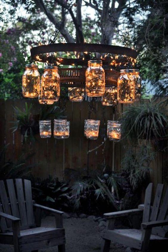 Backyard Lighting Ideas: DIY Vintage Chandelier