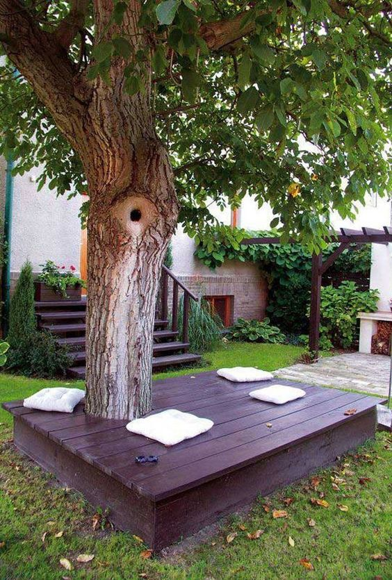 Backyard Trees Ideas: Cozy Earthy Deck