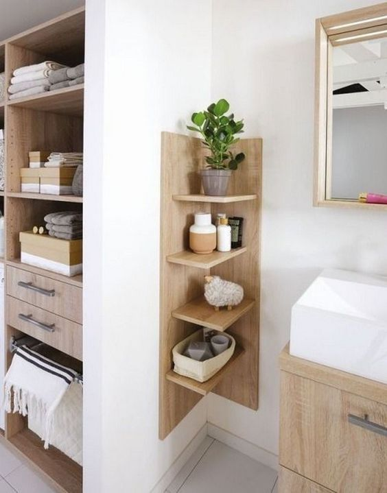 Bathroom Organization Ideas: Earthy Corner Shelf