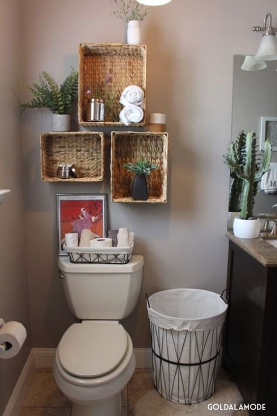 Bathroom Organization Ideas: Floating Rattan Baskets