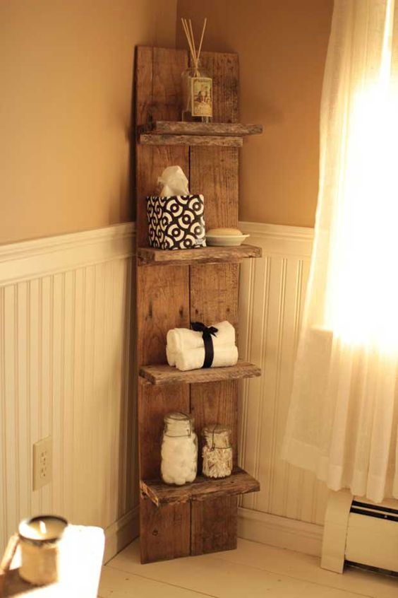 Bathroom Organization Ideas: Rustic Corner Shelf