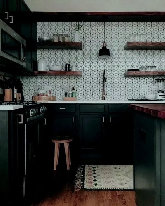 Dark Kitchen Ideas: Festive Monochrome Decor