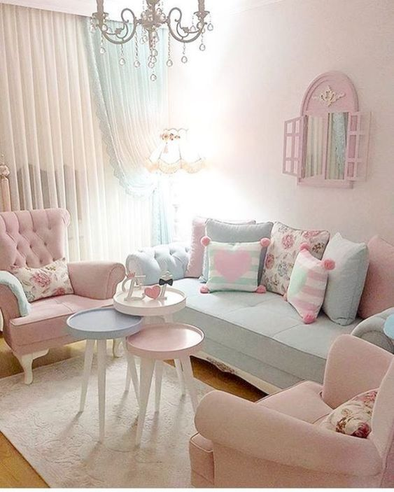 Shabby Chic Living Room Ideas: Girly Pastel Decor