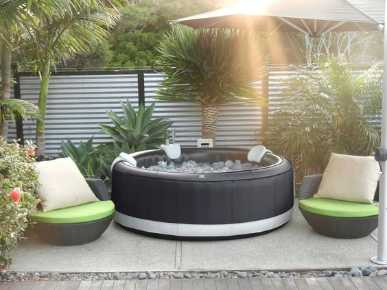 Hot Tub Patio Ideas: Elegant Earthy Decor