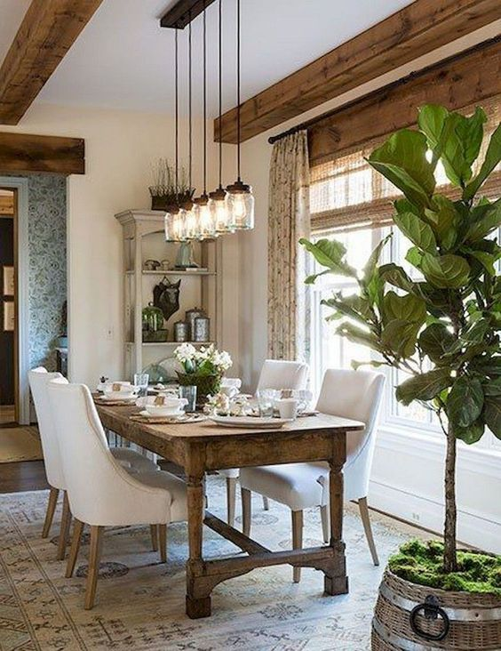 White Dining Room Ideas: Rustic Vintage Decor