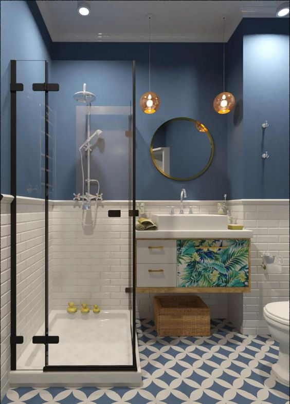 Blue Bathroom Ideas: Catchy Boho Decor