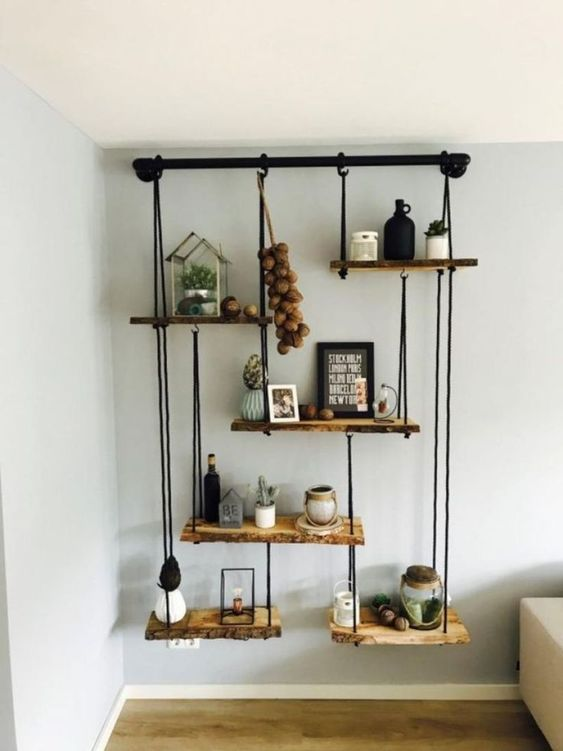 DIY Living Room Furniture Ideas: Rustic Log Shelf