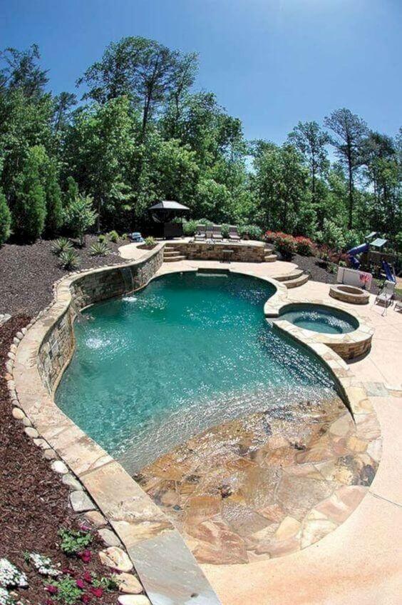 Backyard Pool Ideas: Unique Beach Entry