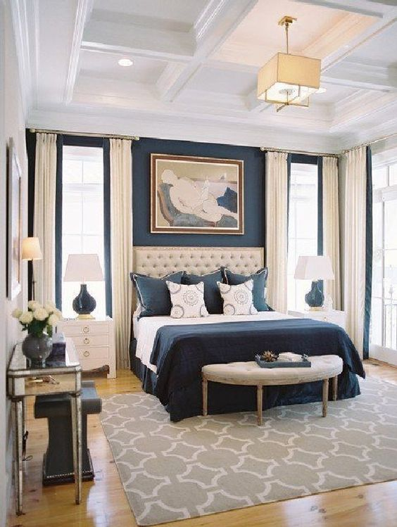 Luxury Bedroom Ideas: Elegant Navy Bedroom